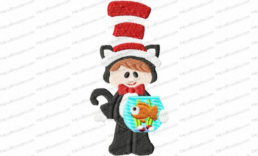 cat in hat with fishbowl 4x4