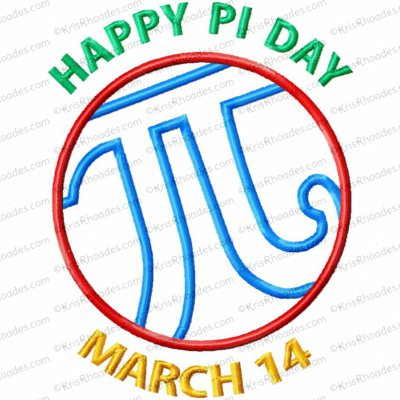 Happy Pi Day Applique Embroidery Design