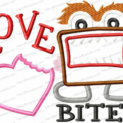 Love Bites Monster Applique Embroidery Design