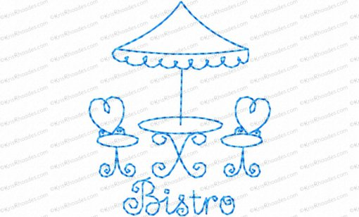 Bistro Table and Chairs Redwork Embroidery Design