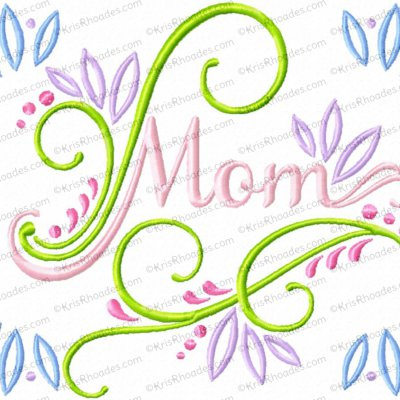 Mom with Swirls Embroidery Design