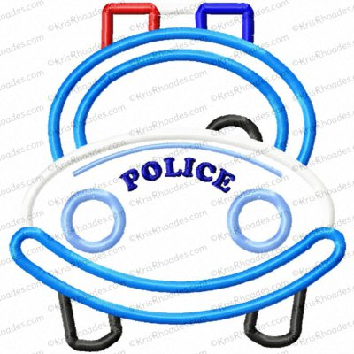 Police Car Applique Embroidery Design