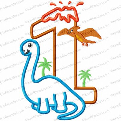 Dinosaur 1st Birthday with Brachiosaurus Applique Embroidery Design