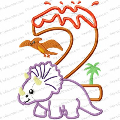 Dinosaur 2nd Birthday with Triceratops Applique Embroidery Design
