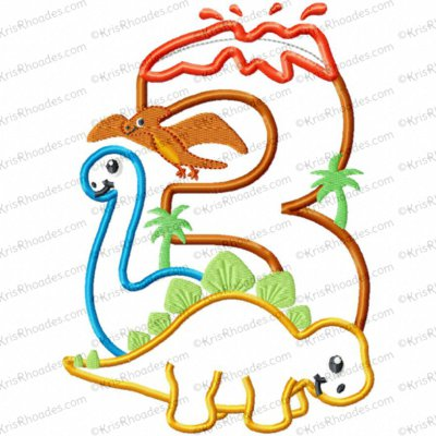 Dinosaur 3rd Birthday with Brachiosaurus and Stegosaurus Applique Embroidery Design