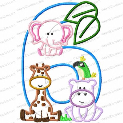 Jungle-Safari-Zoo 6th Birthday Applique Embroidery Design