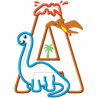Dinosaur Birthday Letter A with Brachiosaurus Applique Embroidery Design