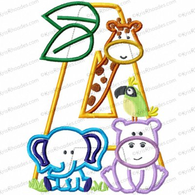 Letter A Jungle-Safari-Zoo Applique Embroidery Design