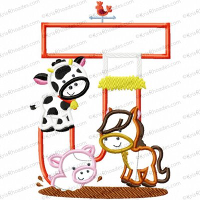 Letter J Farm Animal Applique Embroidery Design