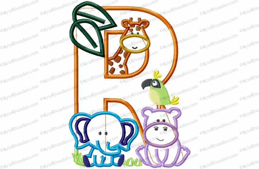 Letter R Jungle Safari Zoo Applique Embroidery Design