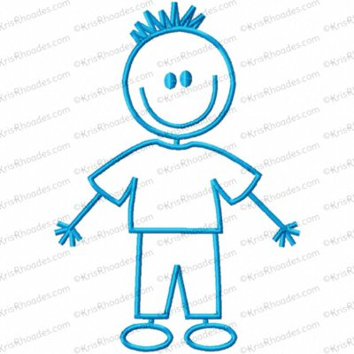 Stick Figure Boy 1 Embroidery Design