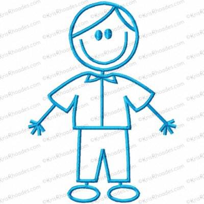 Stick Figure Boy 2 Embroidery Design