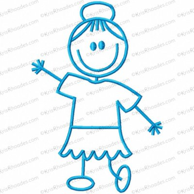 Stick Figure Girl Dancing Embroidery Design