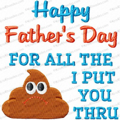 Father's Day Crap Toilet Paper Embroidery Design