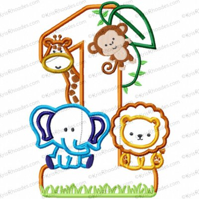 Jungle-Safari-Zoo 1st Birthday Version 2 Applique Embroidery Design