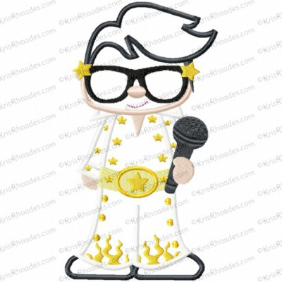 Elvis Impersonator Cutie Applique Embroidery Design