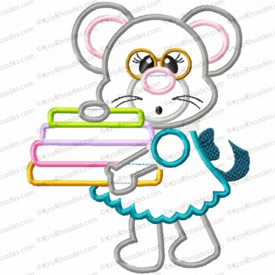 Mouse Carrying Fabric or Books Applique Embroidery Design