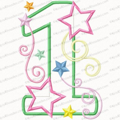 1 birthday number stars and swirls