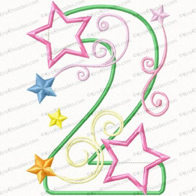 2 birthday number stars and swirls