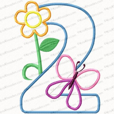 Butterfly and Flower 2nd Birthday Applique Embroidery Design