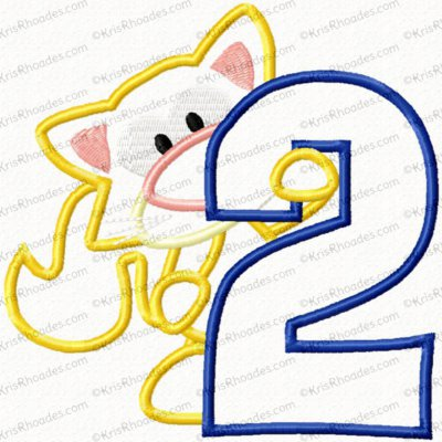 Kitty 2nd Birthday Applique Embroidery Design