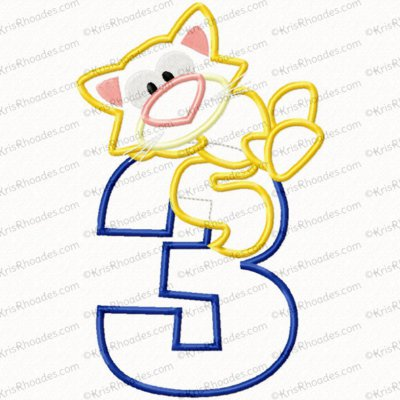 Kitty 3rd Birthday Applique Embroidery Design