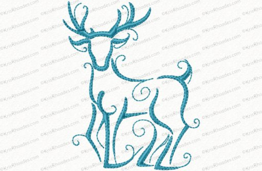 christmas reindeer outline 7 4x4