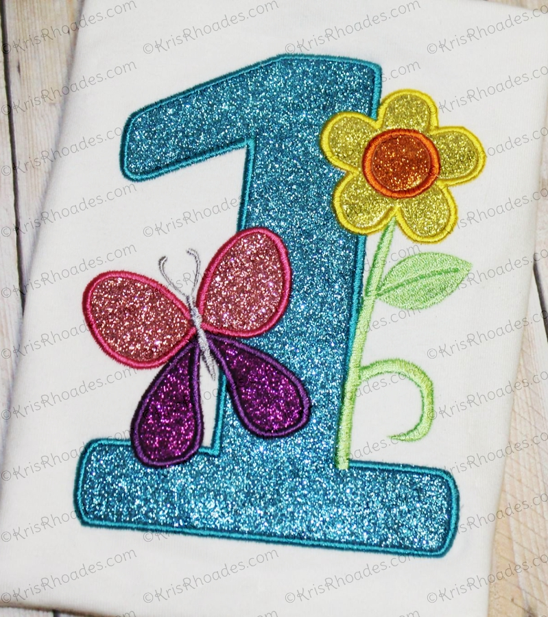 Butterfly And Flower 1st Birthday Applique Embroidery Design