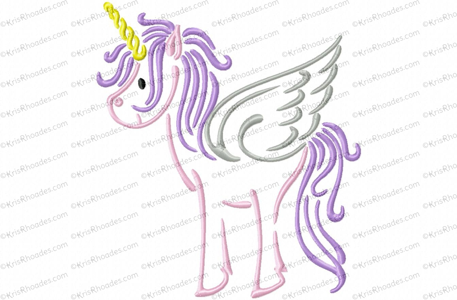 Unicorn Outline Embroidery Design Kris Rhoades