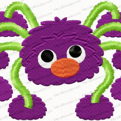 Silly Spider Embroidery Design with Bonus Applique