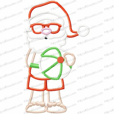 Summer Santa Applique Embroidery Design