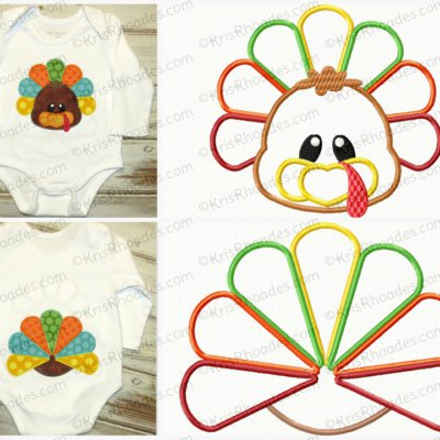 Turkey Face and Butt Applique Embroidery Design