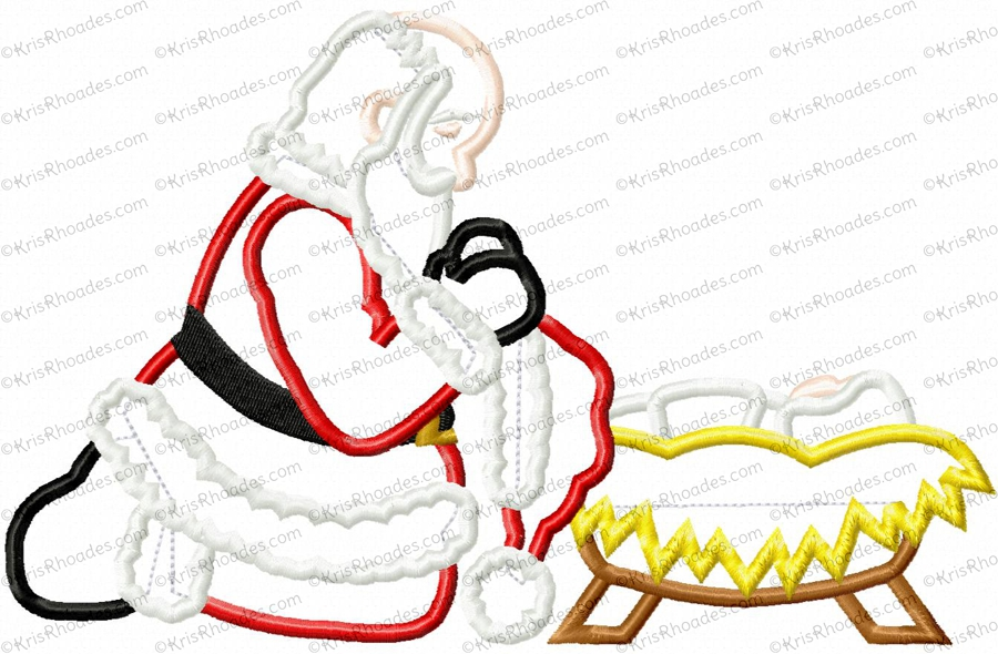 santa kneeling at manger applique embroidery design kris