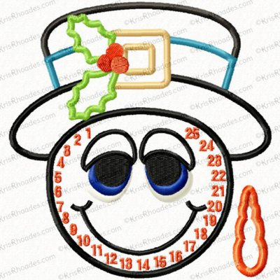 Snowman Countdown Applique Embroidery Design