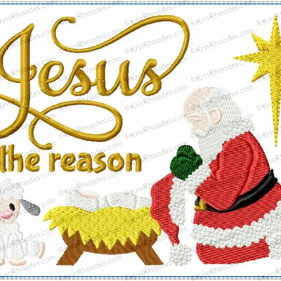Santa Kneeling at Manger Mug Rug Embroidery Design