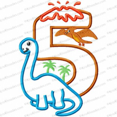 Dinosaur 5th Birthday with Brachiosaurus Applique Embroidery Design