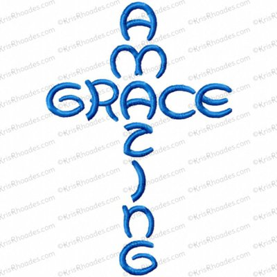 Amazing Grace Cross Embroidery Design