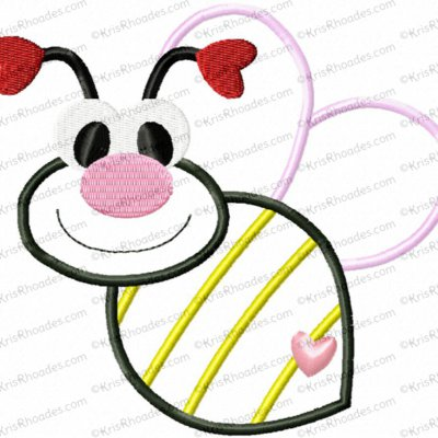 Love Bug Bee Applique Embroidery Design