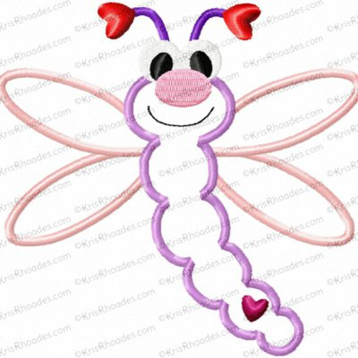 Love Bug Dragonfly Applique Embroidery Design