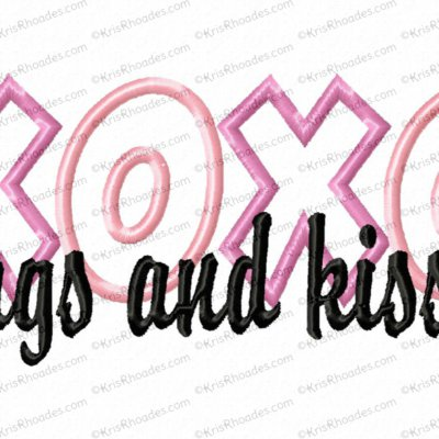 Hugs and Kisses Applique Embroidery Design