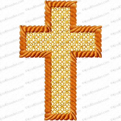 3 inch Cross Embossed Lace Fill Rope Outline Embroidery Design