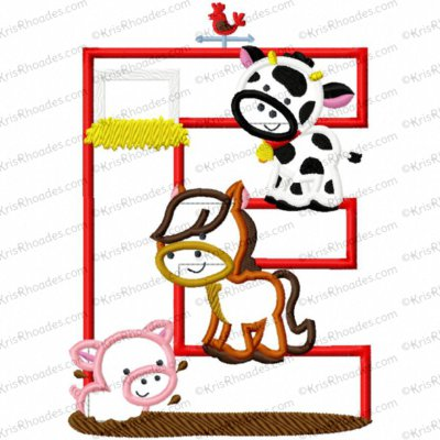 Letter E Farm Animal Applique Embroidery Design
