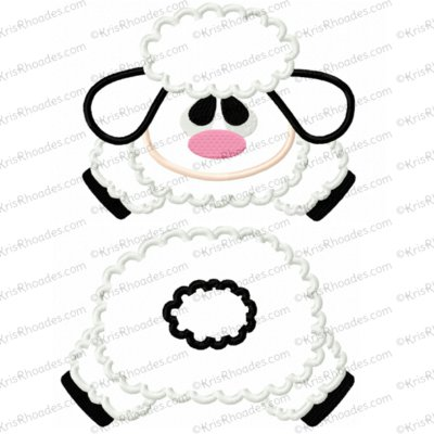 Lamb Face and Butt Applique Embroidery Design