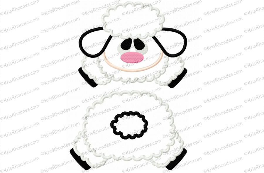 37ab40ddae6474 Lamb Face and Butt Applique Embroidery Design - Kris Rhoades