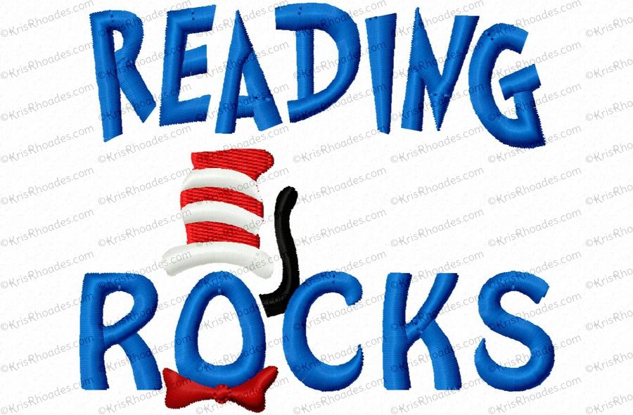 Reading Rocks Applique Embroidery Design Kris Rhoades