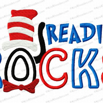 Reading Rocks Applique Embroidery Design