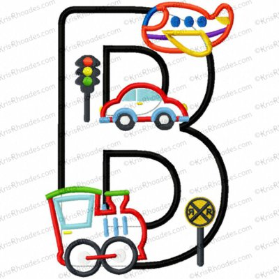 Letter B Plane-Train-Automobile Birthday Applique Embroidery Design