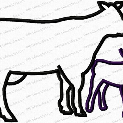 Cow and Calf Silhouette Applique Embroidery Design