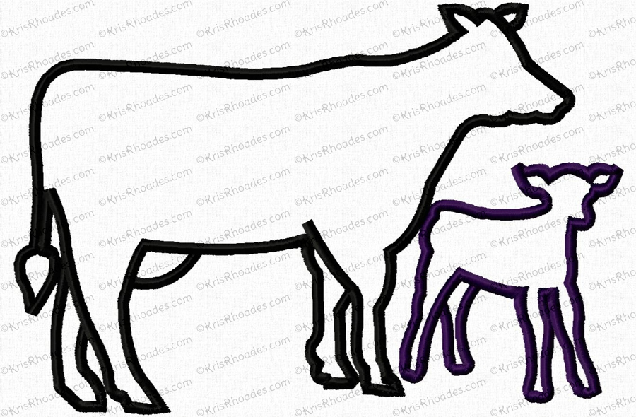 c5a923d379c80 Cow and Calf Silhouette Applique Embroidery Design