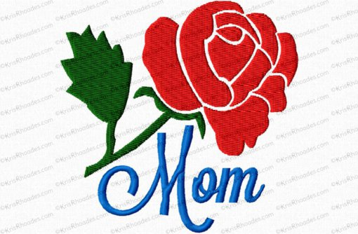 Mom/Mum with Rose Filled Embroidery Design